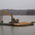 Hydraulic clamLaying activated charcoalBadin Lake, NC