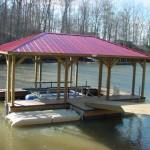 Covered Floating Dockwith Red Roof