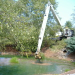 70 foot Bucket DredgeCleaning Inaccessible Drain Basin